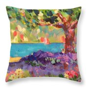 Tree And Flowers By The Water Throw Pillow
