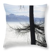 Tree And Fog Throw Pillow
