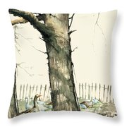 Tree And Geese Throw Pillow