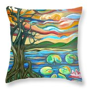 Tree And Lilies At Sunrise Throw Pillow by Genevieve Esson