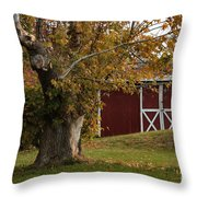 Tree And Red Barn Throw Pillow