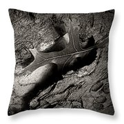Tree Bark And Leaf Throw Pillow