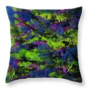 Tree Branches Lit With Abstract Colorful Projection Throw Pillow