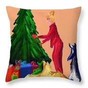 Tree Decorating Throw Pillow