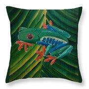 Tree Frog Koi Throw Pillow