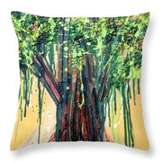 Tree Grit Throw Pillow