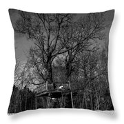 Tree House In Black And White Throw Pillow