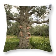 Tree Hugging Green Ecological Concept  Throw Pillow