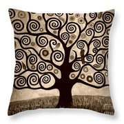Tree Of Life In Sepia Throw Pillow