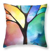 Original Art Abstract Art Acrylic Painting Tree Of Light By Sally Trace Fine Art Throw Pillow