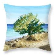 Tree On The Beach Throw Pillow by Veronica Minozzi