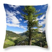 tree over Cordevole valley Throw Pillow