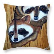Tree Raccoons Throw Pillow