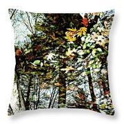 Tree Reflected In Leaves Throw Pillow