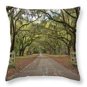 Tree Road Throw Pillow