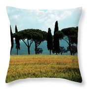 Tree Row In Tuscany Throw Pillow