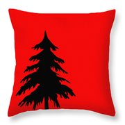 Tree Silhouette On A Red Background 2 Throw Pillow