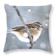 Tree Sparrow In The Snow Throw Pillow