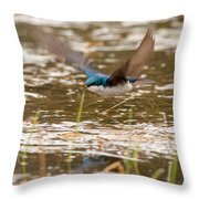 Tree Swallow In Flight Throw Pillow