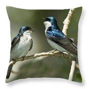 Tree Swallows Singing Throw Pillow