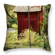 Tree Swing By The Outhouse Throw Pillow