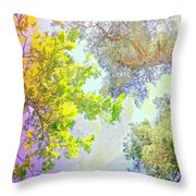 when the tree tops are looking down at me I am feeling little but also very lucky  Throw Pillow