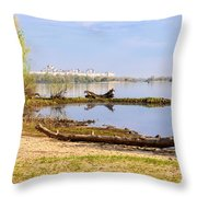 Tree Trunk By The River Throw Pillow