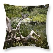 Tree Trunk In The Meadow Throw Pillow