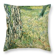 Tree Trunks In Grass Throw Pillow