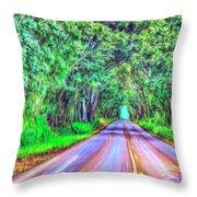 Tree Tunnel Kauai Throw Pillow