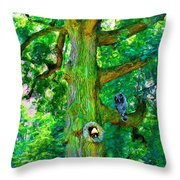 Tree With Owl Gnome And Mushroom Throw Pillow