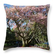 Tree With Pink Flowers Throw Pillow