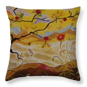 Tree With Red Apple Throw Pillow