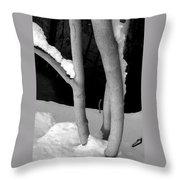 Tree With Snow Throw Pillow