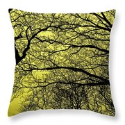 Trees Abstarct Yellow Throw Pillow