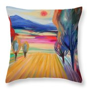 Trees And Fields Throw Pillow