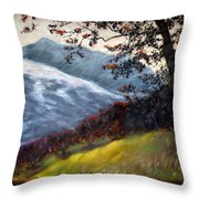 Trees And Hills Throw Pillow