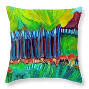 Trees And Meadow Throw Pillow