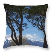 Trees And Snow-capped Mountain Throw Pillow