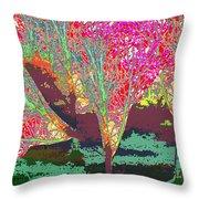 Trees Around Faal Season  Digitally Painted Photograph Taken Around Poconos  Welcome To The Pocono M Throw Pillow