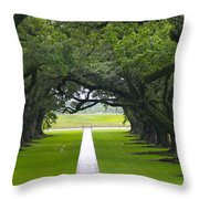 Trees At Oak Alley Plantation Throw Pillow