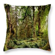 Trees At Olympic National Forest Throw Pillow