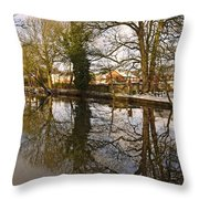Trees Beside The Wintry Rolleston Pond Throw Pillow