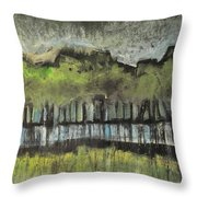 Trees By A Stream Throw Pillow