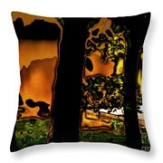 Melted Sunset Abstract Throw Pillow