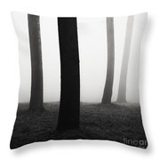 Trees Dancing In The Fog Throw Pillow