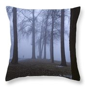 Trees Greenlake With Man Walking Throw Pillow