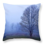 Trees In Fog #2 Throw Pillow