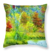 Trees In Spring On A Lake Throw Pillow