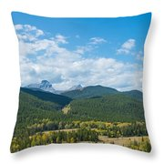 Trees On Canadian Rockies Along Route Throw Pillow